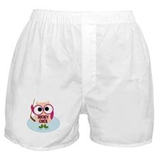 Owl Hockey Chick Boxer Shorts