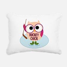Owl Hockey Chick Rectangular Canvas Pillow