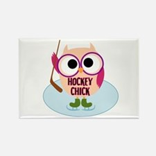 Owl Hockey Chick Rectangle Magnet
