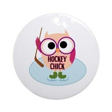 Owl Hockey Chick Ornament (Round)