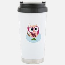 Owl Hockey Chick Travel Mug