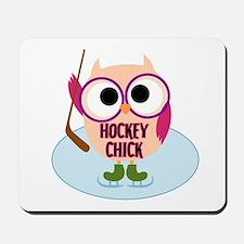 Owl Hockey Chick Mousepad