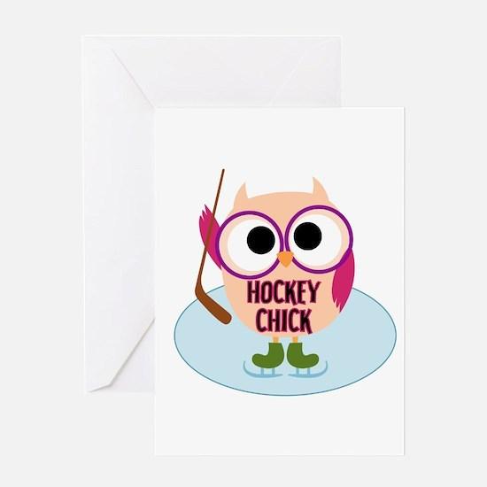 Owl Hockey Chick Greeting Card