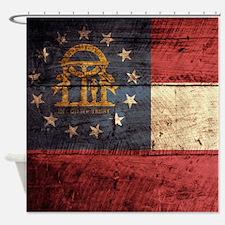 Wooden Georgia Flag3 Shower Curtain