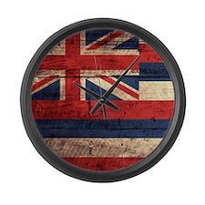 Wooden Hawaii Flag3 Large Wall Clock