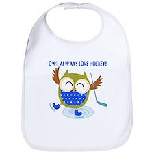 Owl Always Love Hockey Bib