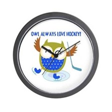 Owl Always Love Hockey Wall Clock