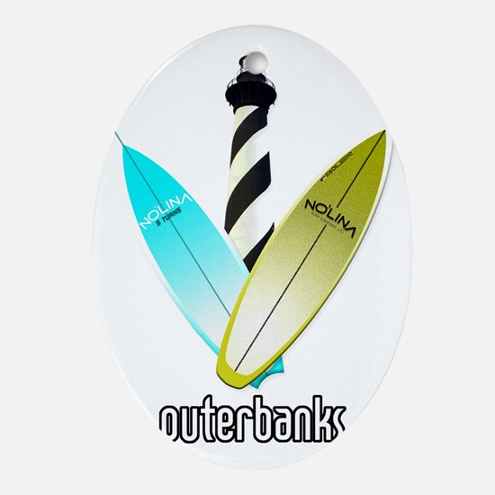 NOLINA OUTERBANKS SURF LIGHTHOUSE Oval Ornament