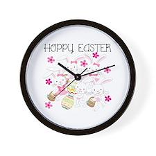 Bunnies Hoppy Easter Wall Clock