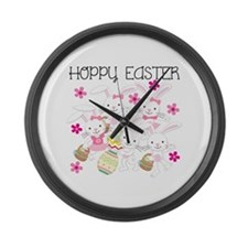 Bunnies Hoppy Easter Large Wall Clock
