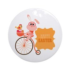 Easter Bunny On Bicycle Ornament (Round)