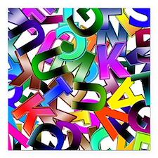 "Colorful Alphabet Square Car Magnet 3"" x 3"""