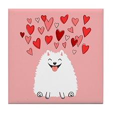 Pomeranian Valentine Tile Coaster