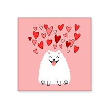"Pomeranian Valentine Square Sticker 3"" x 3"""