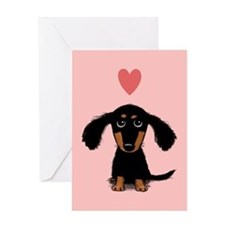 Cute Dachshund Valentine Card - Blank Inside