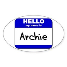 hello my name is archie Oval Decal