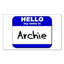 hello my name is archie Rectangle Decal