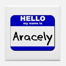 hello my name is aracely  Tile Coaster