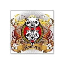 "Romero Family Crest Square Sticker 3"" x 3"""