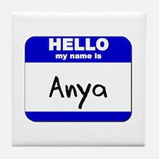 hello my name is anya  Tile Coaster