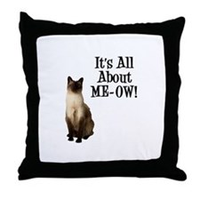 ME-OW Siamese Cat Throw Pillow