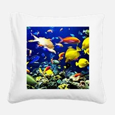 Colorful Aquatic Ocean Life Square Canvas Pillow