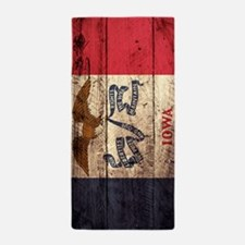 Wooden Iowa Flag1 Beach Towel