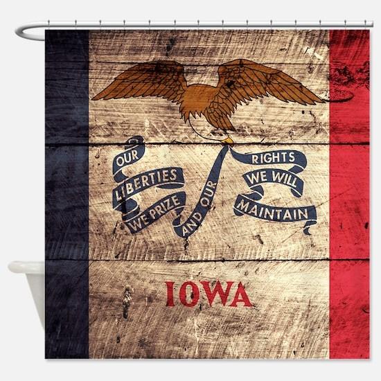 Wooden Iowa Flag3 Shower Curtain