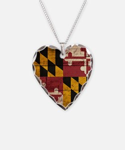 Wooden Maryland Flag3 Necklace