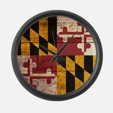 Wooden Maryland Flag3 Large Wall Clock