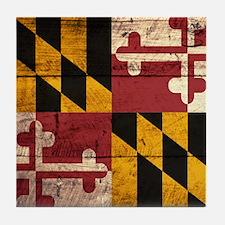 Wooden Maryland Flag3 Tile Coaster