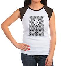 Damask Black Monogram Women's Cap Sleeve T-Shirt