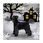 SCHNAUZER DOG Snowy Day Tile Coaster