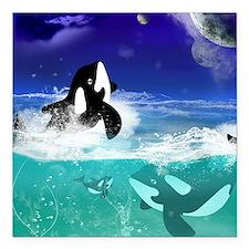 "Fantastic orcas Square Car Magnet 3"" x 3"""