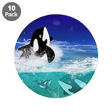 """Fantastic orcas 3.5"""" Button (10 pack)"""