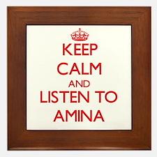 Keep Calm and listen to Amina Framed Tile