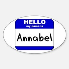 hello my name is annabel Oval Decal