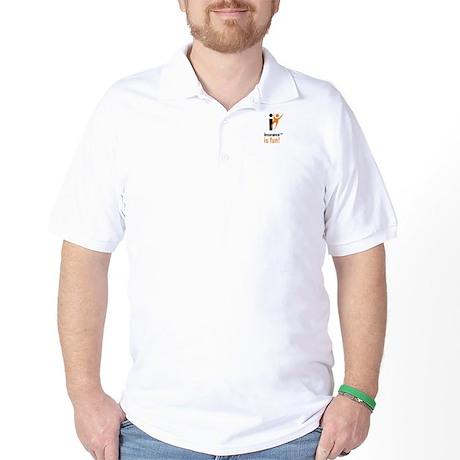 Insurance Is Fun logo, plain back golf shirt
