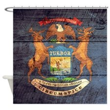 Wooden Michigan Flag3 Shower Curtain