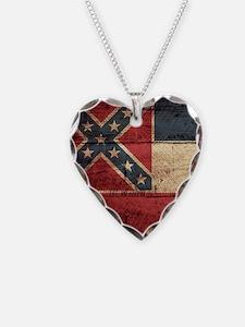 Wooden Mississippi Flag3 Necklace