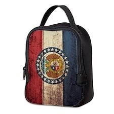 Wooden Missouri Flag2 Neoprene Lunch Bag