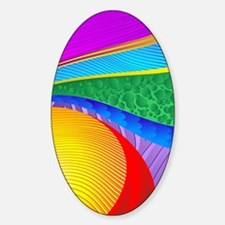 Rainbow Colors Abstract Fantasy Sticker (Oval)