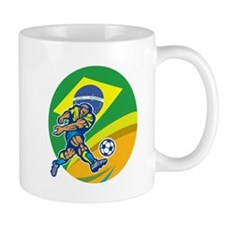 Brazil Soccer Football Player Kicking Ball Retro M
