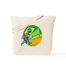 Brasil 2014 Football Player Kicking Retro Tote Bag