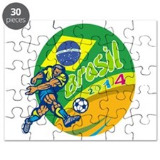 Brasil 2014 Football Player Kicking Retro Puzzle