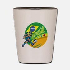 Brasil 2014 Football Player Kicking Retro Shot Gla