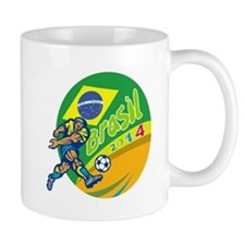 Brasil 2014 Football Player Kicking Retro Mugs