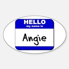 hello my name is angie Oval Decal