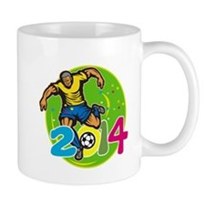 Brazil 2014 Football Player Kick Retro Mugs