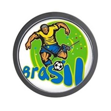 Brazil Football Player Kicking Ball Retro Wall Clo